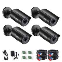 ZOSI 4PCS 1/3 Color CMOS 960H 1000TVL Wide Angle 3.6mm Lens Outdoor/Indoor IR Security Surveillance CCTV Bullet Cameras Kit with 65ft Cables - Aluminum Casing,100ft 30m Night Vision