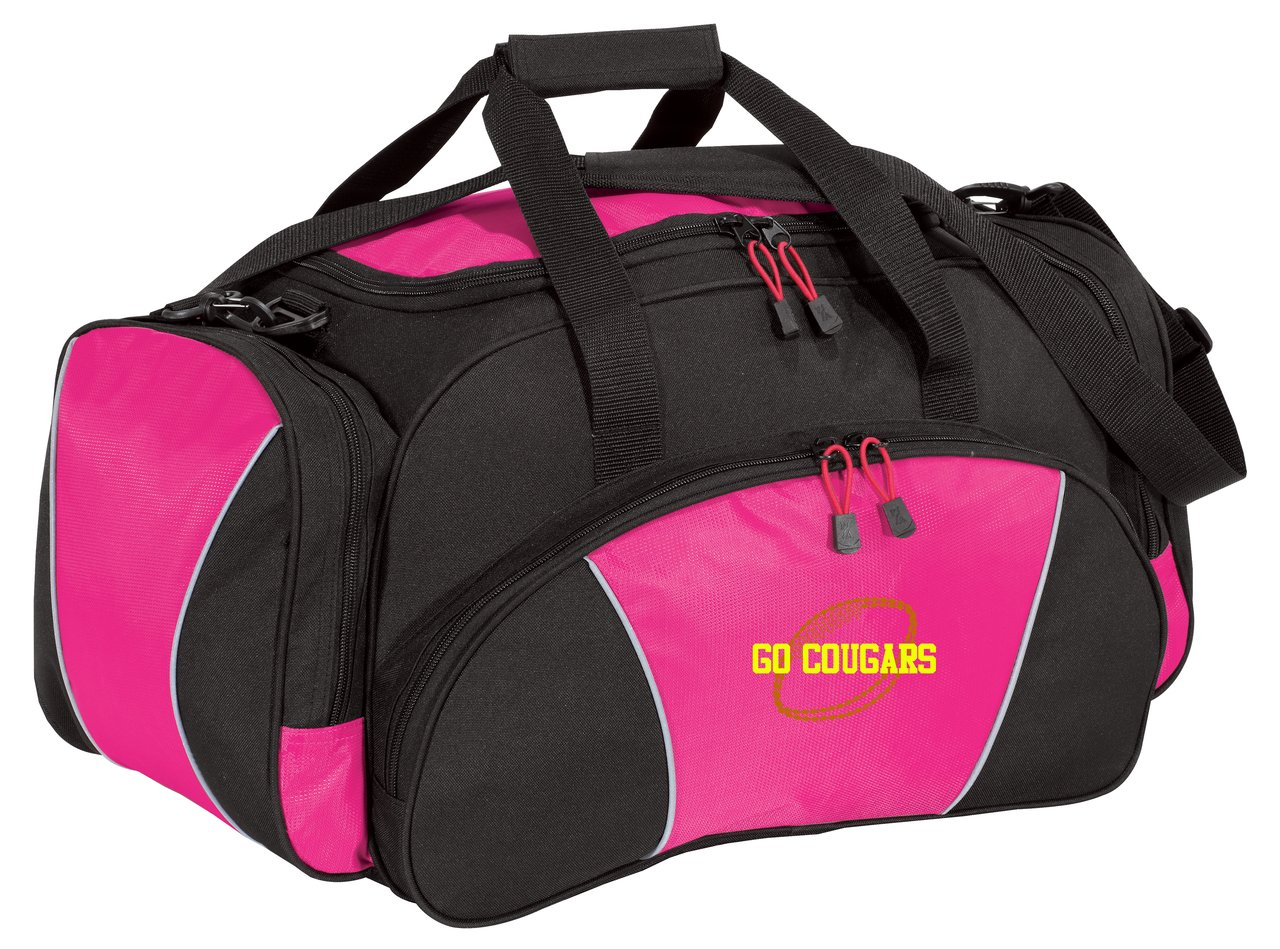 Personalized Football Metro Gym Duffel Bag with Custom Text   Heavy Duty Sports Bag with Customizable Embroidered Monogram Design (Tropical Pink)