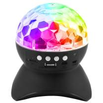 Disco Ball Party Light & Wireless Speaker, PEMOTech 7 Colors Magic Ball Stage Lamp, Auto Rotating Party Light with USB, TF Card Port, Aux Input, for Holiday, Wedding, Christmas, Halloween, Birthday