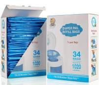 Diaper Pail Refill Bags, Fully Compatible with Arm&Hammer Disposal System Seal and Toss Diaper Pail Refills,1020 Counts, 34 Bags