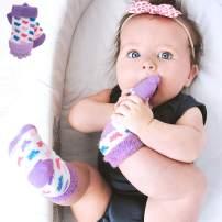 "Nuby Soothing Teether Sock, Purple Butterfly, 5"""
