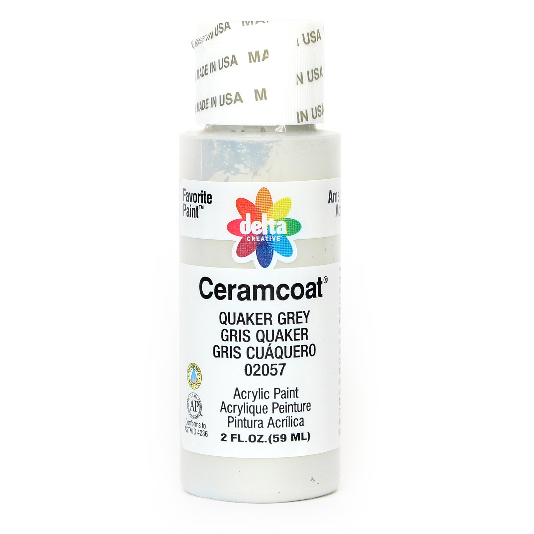 Delta Creative Ceramcoat Acrylic Paint in Assorted Colors (2 oz), 2057, Quaker Grey