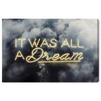"""The Oliver Gal Artist Co. Typography and Quotes Wall Art Canvas Prints 'IT was All A Dream Home Décor, 36"""" x 24"""", Yellow, Gray"""