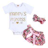 Infant Baby Girl Clothes Daddy's Girl Letter Print Romper Floral Bloomers with Headband 3PCs Toddler Outfits Set