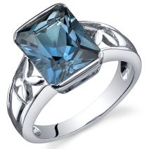 London Blue Topaz 3.50 Carats Ring Sterling Silver Rhodium Nickel Finish Radiant Cut Sizes 5 to 9