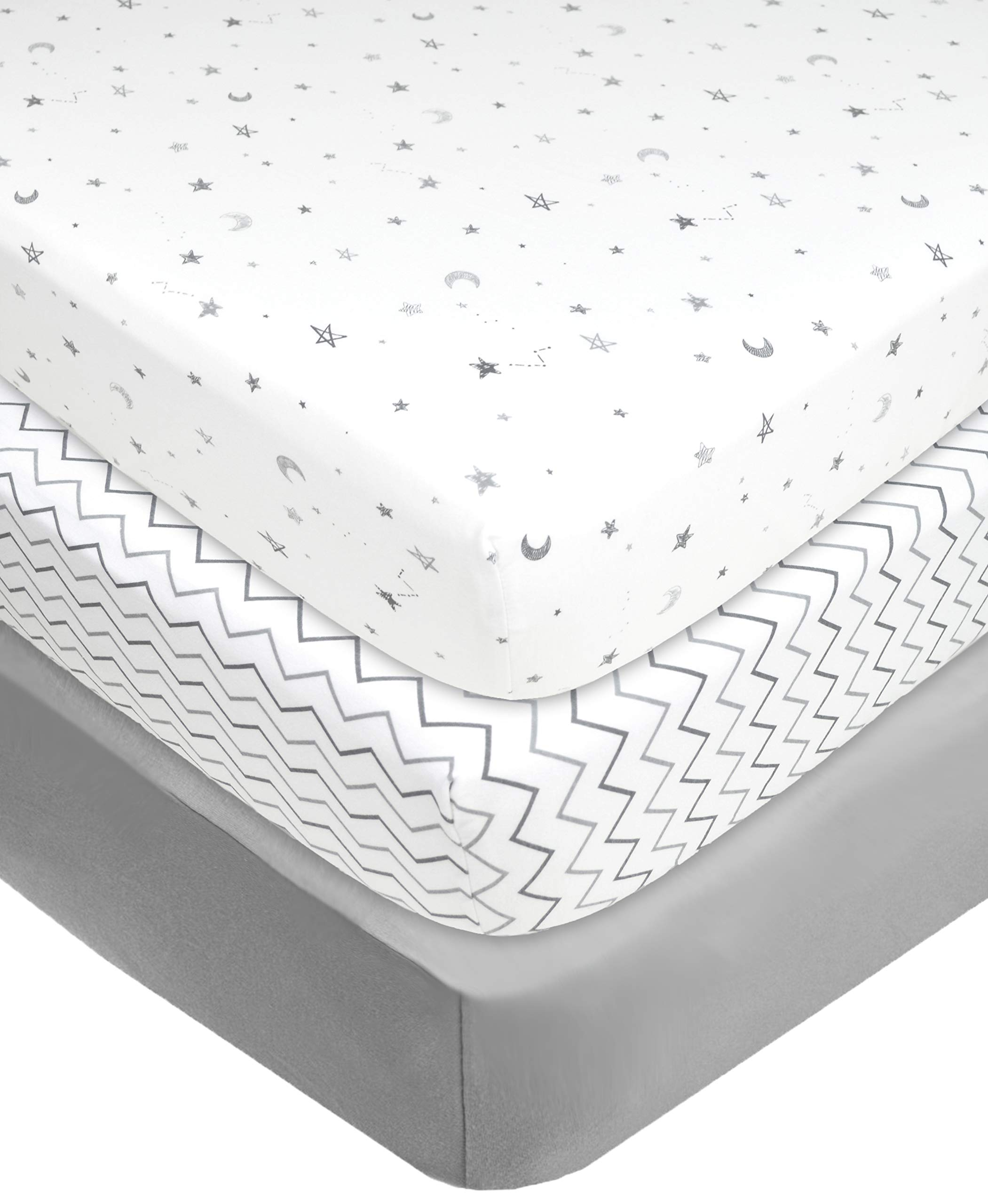 """American Baby Company 100% Natural Cotton Value Jersey Knit Fitted Portable/Mini-Crib Sheet, Grey Star/Zigzag, 24"""" x 38"""" x 5"""", Soft Breathable, for Boys and Girls, Pack of 3"""