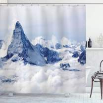 """Ambesonne Mountain Shower Curtain, Scenery of Mountain Summit Dreamlike Scenery Natural Paradise Pattern, Cloth Fabric Bathroom Decor Set with Hooks, 70"""" Long, Black White"""
