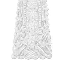 KEPSWET Sunflower Rectangle Handmade Crochet Lace Table Runner Floral Wedding Decoration (14x48 inch, White)
