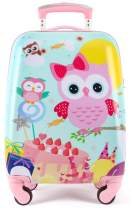 Kids Luggage for Girls Rolling Suitcase Toddler Personalized Travel Case with Bulid-in Lock Carry On 18in Pink Owl
