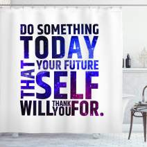 "Ambesonne Inspirational Shower Curtain, Do Something Today That Your Future Self Will Thank You for Typography, Cloth Fabric Bathroom Decor Set with Hooks, 84"" Long Extra, Purple White"