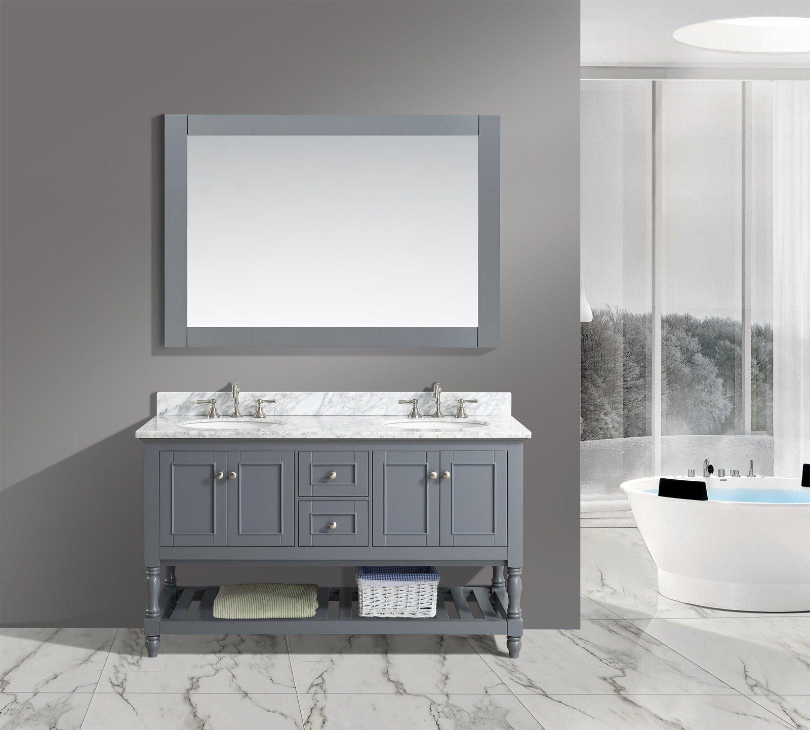 "UrbanFurnishing.net - Silvia 60-Inch (60"") Bathroom Sink Vanity Set with White Italian Carrara Marble Top - Charcoal"