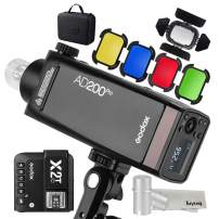 GODOX AD200Pro 200W 2.4G Speedlite Pocket Flash Strobe with X2T-C TTL Trigger with BD-07 Barn Door Honeycomb Grid 4 Color Filter Kit and AD-S15 Flash Lamp Tube Bulb Protector Cover for Canon Camera