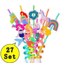 Mermaid Party Favors Drinking Plastic Straws Reusable for Mermaid Birthday Supplies Baby Shower Girl (27 PCS)
