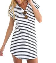 CHOiES record your inspired fashion Women's Black Striped Shift Tunic Mini Dress-Basic Summer tee Dress S