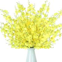 YILIYAJIA Artificial Flowers Fake Silk Flowers Arrangement Butterfly Dancing Lady Orchid Flowers Tall Flowers 35.4'',Oncidium Floral for Wedding Home Office Decoration,12pcs (Yellow)