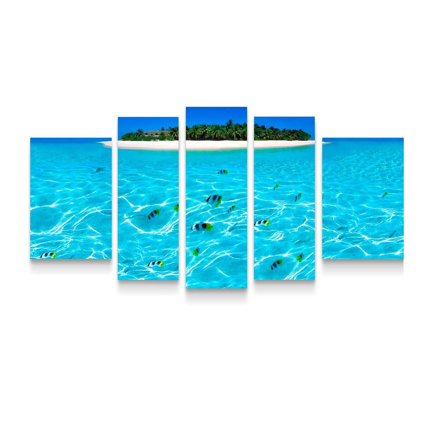 Startonight Canvas Wall Art Island - Water Framed Set of 5 Large 36 x 71 Inches