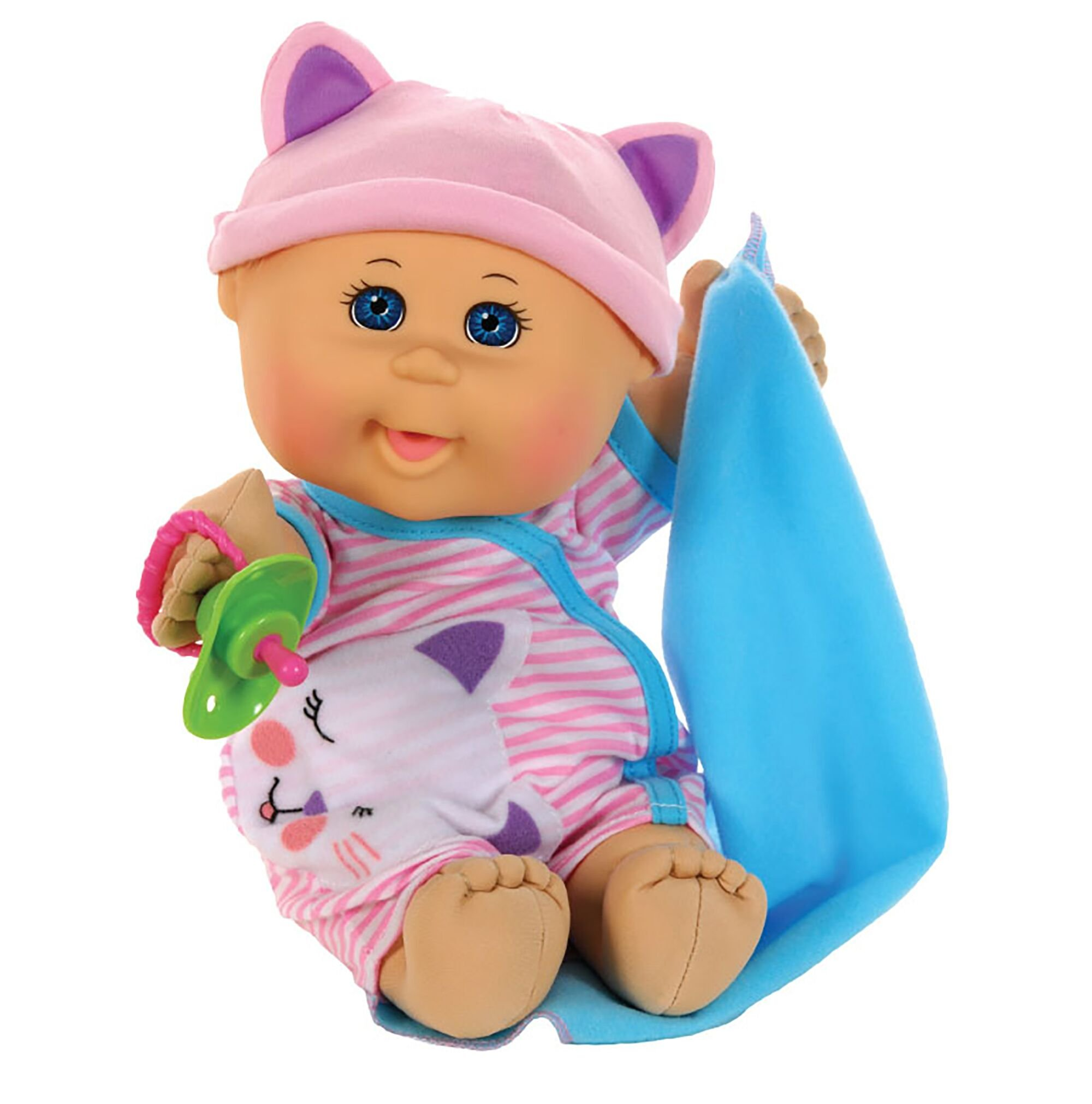 Cabbage Patch Kids 12 5 Naptime Babies Bald Blue Eye Girl Baby Doll Pink Stripe Jumper Fashion 99202us01
