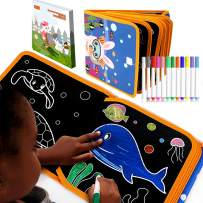 Portable Erasable Doodle and Draw Pad Toy for Kids-15+ Animals Doodle Model and 6 Writing Board, Magna Double-Sided Reuse Drawing Board,12 Erasable Colored Pens, Doodle Pro Travel Drawing Book