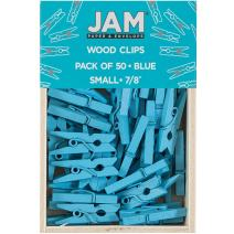 JAM PAPER Wood Clip Clothespins - Small - 7/8 Inch - Blue - 50 Clothes Pins/Pack