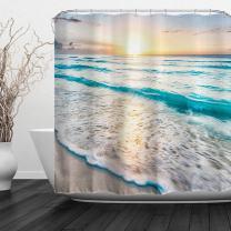 "Baccessor Tropical Sea Beach Ocean Waves Shower Curtain, Bathroom Decor Shower Curtain Set with Hooks, Waterproof Fabric, 72"" W x 72"" H (180CM x 180CM) - Sea Sunrise"