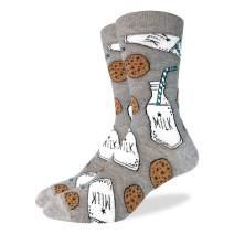 Good Luck Sock Men's Extra Large Milk & Cookies Socks, Size 13-17, Big & Tall