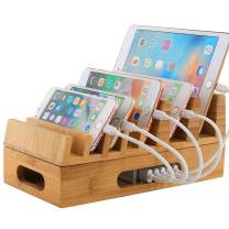 Large Bamboo Charging Station for Multi Devices, Charge Dock Stand for Cell Phones, Tablets, Bamboo Charging Dock with 7 Slots