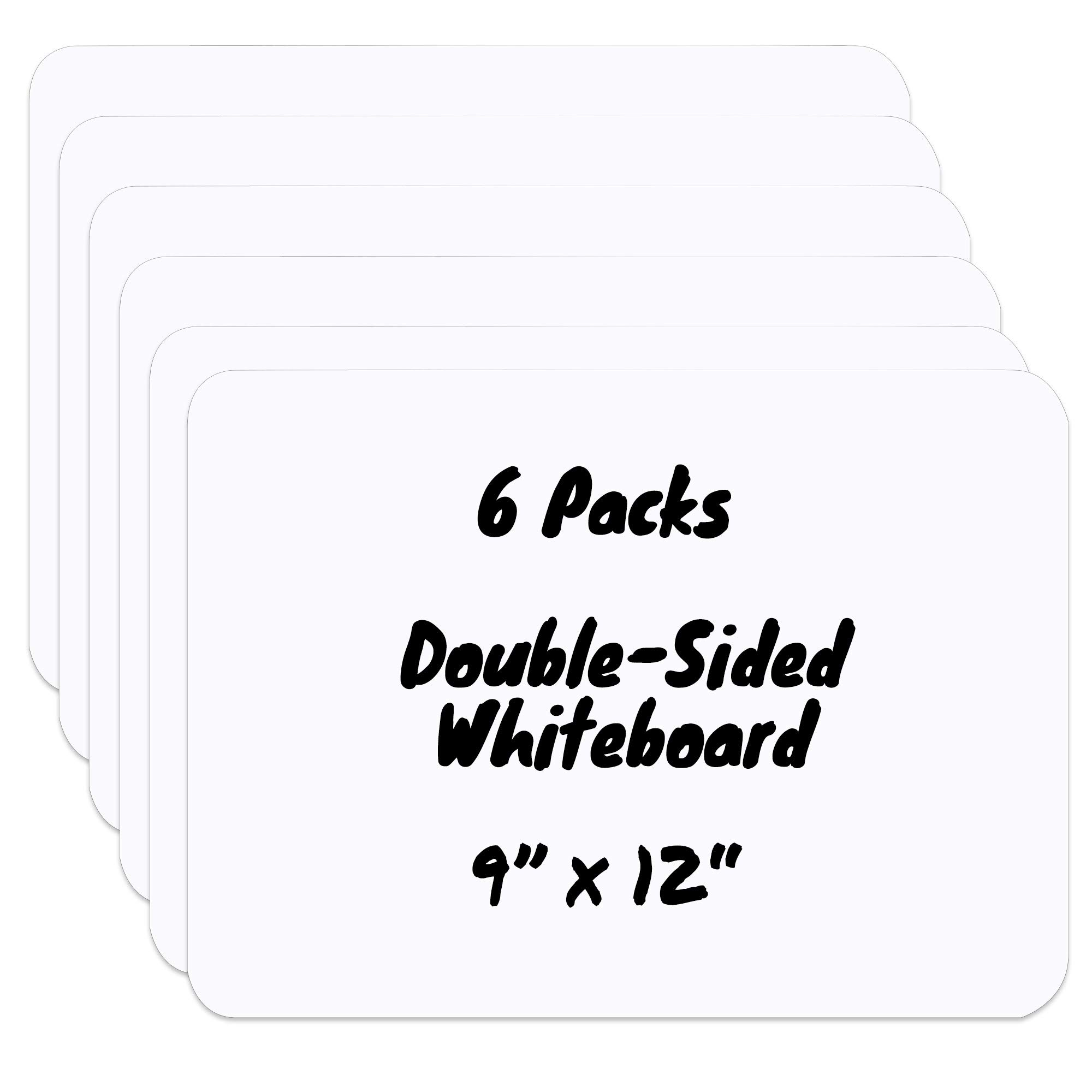 SUNEE 9x12 Inches Dry Erase Lapboards, 6 Packs Double-Side Blank Whiteboard, for Kids Students Home-Teaching, School, Offices