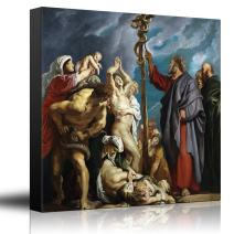 wall26 - Oil Painting of Moses and The Brazen Serpent by Peter Paul Rubens - Baroque Style - Catholic, Christianity - Canvas Art Home Decor - 16x16 inches