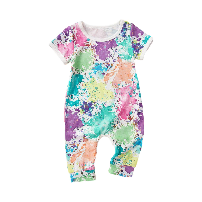 Yiner Newborn Baby Unisex Romper Graffiti Jumpsuit Short Sleeve One-Piece Bodysuit Infant Summer Clothes