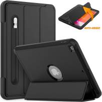 Timecity iPad 7th Generation Case 10.2 Inch 2019.Auto Wake/Sleep Magnetic Smart Tablet Case with Pencil Holder Stand, Three Layer Rugged Heavy Duty Protective Case for iPad 7th Gen 10.2 Inch, Black