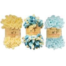 BambooMN Finger Knitting Yarn - Fun Finger Loops Yarn - 100% Polyester - Assortment 84-3 Skeins