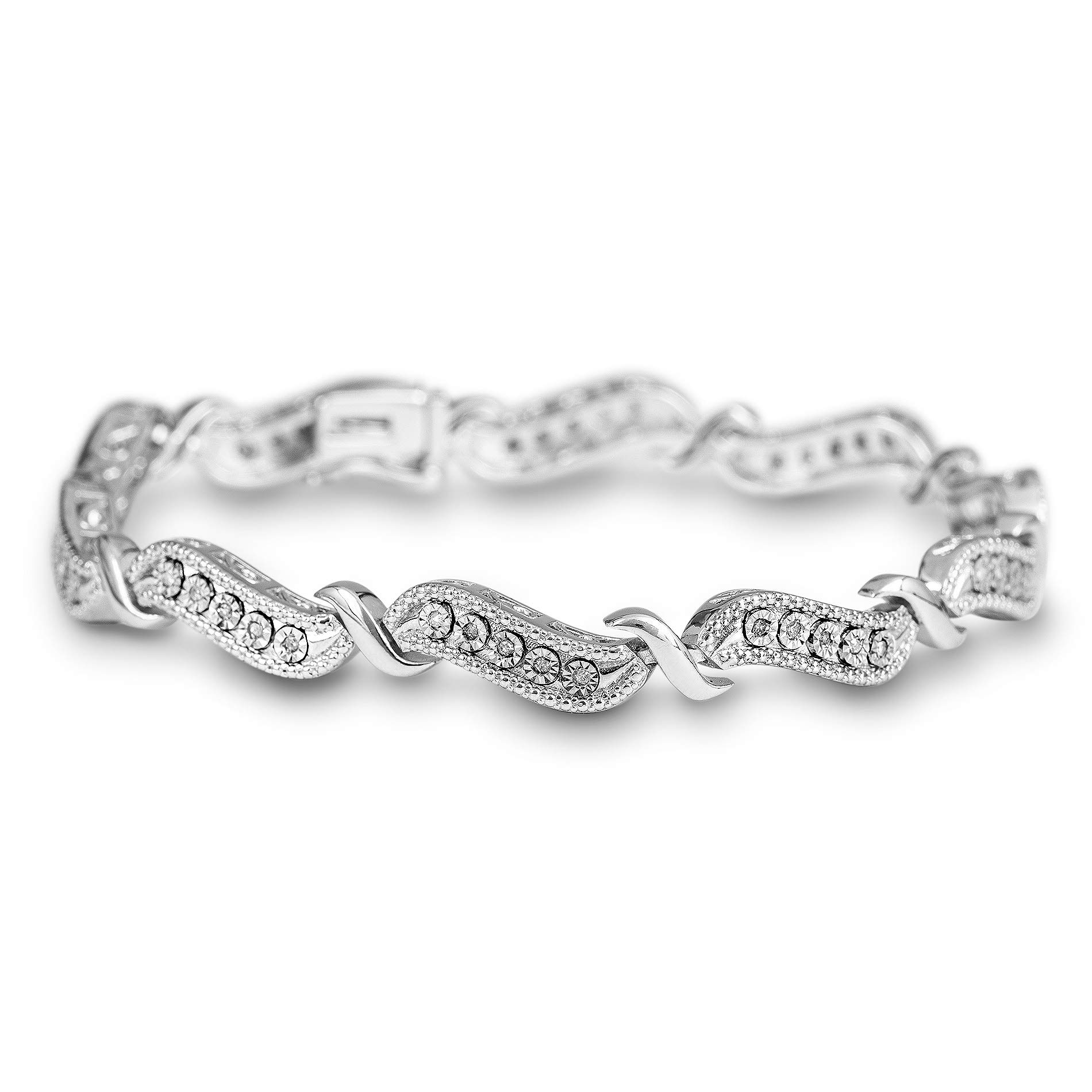 Devin Rose Rhodium Plated Sterling Silver Curved 1/4 Cttw Diamond Tennis Bracelet for Women ( IJ Color I2 - I3 Clarity)