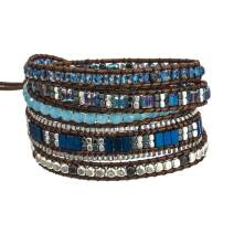Plumiss Boho 5 Wraps Handmade Beaded Statement Bracelet Jewelry for Women with Stainless Steel Chain