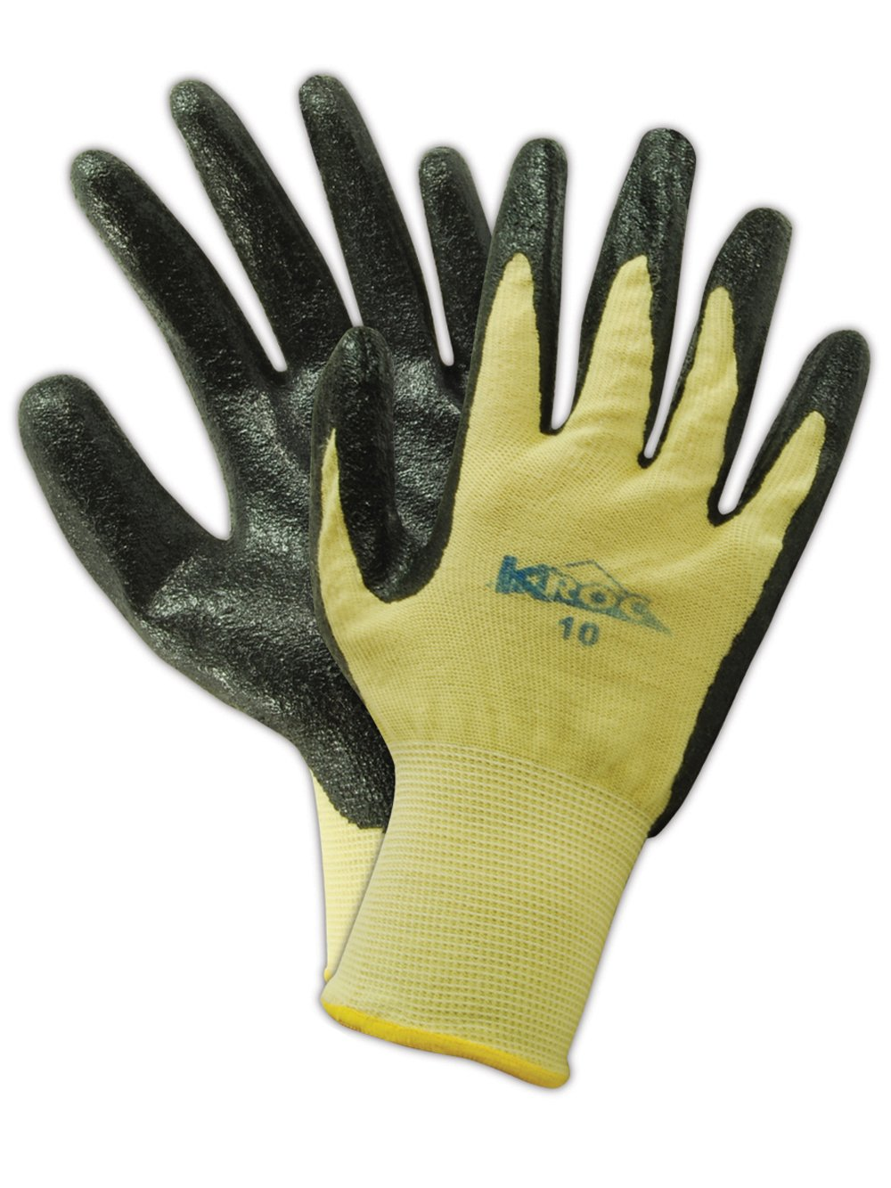 """Magid K-ROC KEV4308 Kevlar Knit Glove, Nitrile Palm Coating, Knit Wrist Cuff, 8.5"""" Length, Size 6 (Pack of 12 Pairs)"""