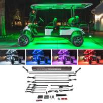 LEDGlow 12pc Million Color LED 6 Seater Limo Golf Cart Underglow Accent Neon Lighting Kit with Canopy & Wheel Well Lights for EZGO Yamaha Club Car - Fits Electric & Gas Golf Carts - Water Resistant