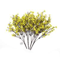 MEHELANY Baby Breath Artificial Flowers, 4 Pcs Gypsophila Fake Flowers Bouquet 5 Branch Silk Flowers for Home, Wedding, Party, DIY Decoration (Yellow, 4)…
