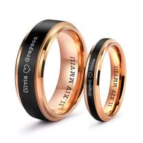 LerchPhi Wedding Band Promise Rings for Couples Rings Free Personalized Engraved Tungsten Carbide Black Matte Satin Finish 18K Rose Gold Plated Innerface