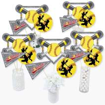 Grand Slam - Fastpitch Softball - Birthday Party or Baby Shower Centerpiece Sticks - Table Toppers - Set of 15
