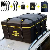 YLAUTO Car Roof Bag Rooftop Cargo Carrier,21 Cubic Feet,100% Waterproof,Cars Soft Roof Top Carrier Storage Luggage Bag Fits All Vehicles with or Without Rack