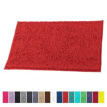 LuxUrux Bath Mat-Extra-Soft Plush Bath Shower Bathroom Rug,1'' Chenille Microfiber Material, Super Absorbent Shaggy Bath Rug. Machine Wash & Dry (15 x 23, Red)