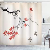 "Ambesonne Japanese Shower Curtain, Cherry Blossom Sakura Tree Branches Romantic Spring Themed Watercolor Picture, Cloth Fabric Bathroom Decor Set with Hooks, 75"" Long, Coral Black"