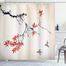 """Ambesonne Japanese Shower Curtain, Cherry Blossom Sakura Tree Branches Romantic Spring Themed Watercolor Picture, Cloth Fabric Bathroom Decor Set with Hooks, 75"""" Long, Coral Black"""