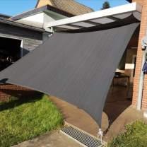 KANAGAWA Sun Shade Sail 10'x13' Dark Grey Rectangle UV Block Canopy Awning Shelter Fabric Cloth Screen for Outdoor Patio Garden Backyard Activities