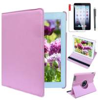 Ipad Case 360 Degrees Rotating Stand Leather Magnetic Smart Cover Case for Ipad 2/3 / 4 Generation Case with Bonus Screen Protector, Stylus and Cleaning Cloth (Plain Pink)