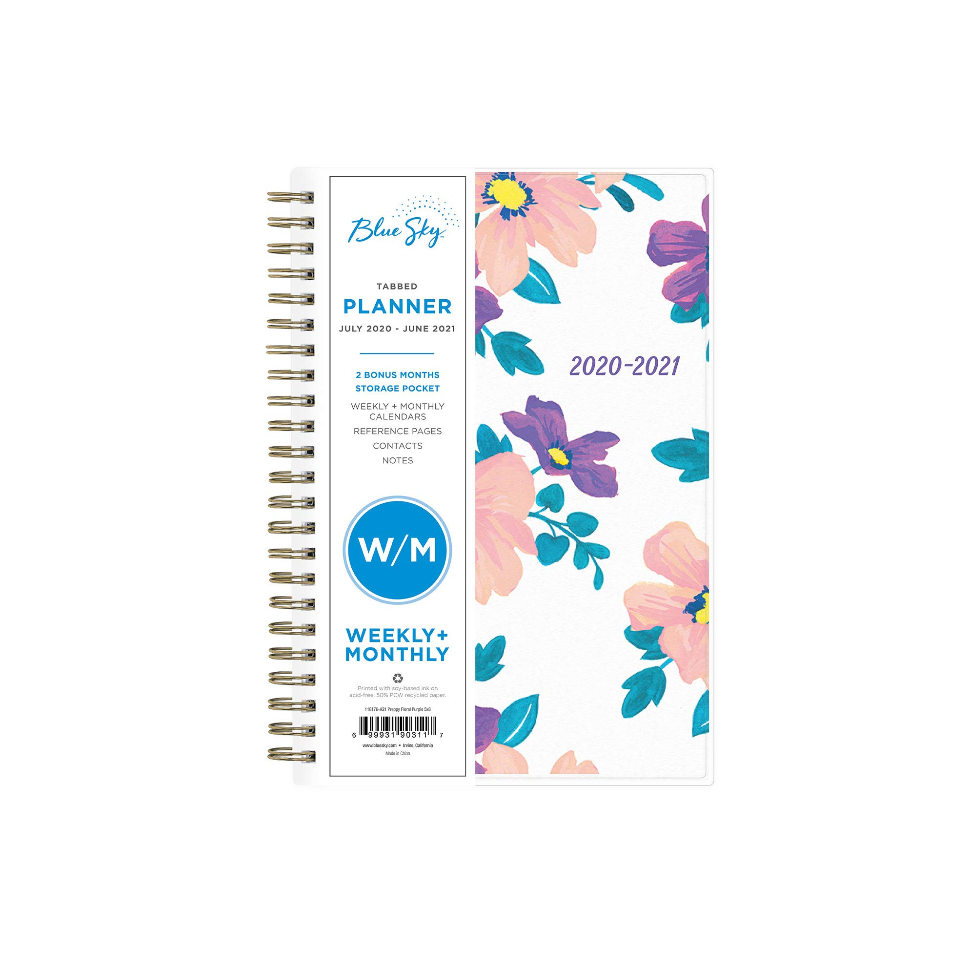 """Blue Sky 2020-2021 Academic Year Weekly & Monthly Planner, Flexible Cover, Twin-Wire Binding, 5"""" x 8"""", Preppy Floral Purple"""