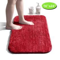 "Bathroom Rug Non Slip Bath Mat for Bathroom Water Absorbent Soft Microfiber Shaggy Bathroom Mat Machine Washable Bath Rug for Bathroom Thick Plush Rugs for Shower - Red, 16""x24"""