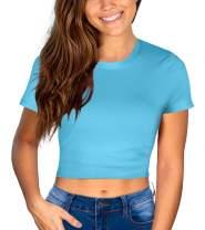Glanzition Women Juniors Summer Short Sleeve Crop Tops Round Neck Casual Tee Shirts