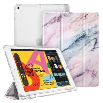 """Fintie Case with Pencil Holder for iPad 7th Generation 10.2 Inch 2019 - Slim Shell Lightweight Cover with Translucent Frosted Stand Hard Back, Supports Auto Wake/Sleep for iPad 10.2"""", Marble Pink"""