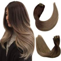 Ombre Clip in Hair Extensions Medium Brown to Ash Brown Mixed 2 Tones Real Human Hair Extensions Clip in for Women 8 Pcs 100G Double Weft Remy Clip on Hair Extensions 14 Inch for Bride Fine Hair