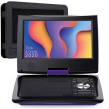 "SUNPIN 11"" Portable DVD Player for Car and Kids with 9.5 inch HD Swivel Screen, 5 Hour Rechargeable Battery, Dual Earphone Jack, Supports SD Card/USB/CD/DVD, with Extra Headrest Mount Case (Purple)"